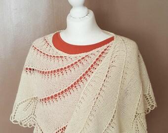 """Knit shawl handmade """"Bégonia Swirl"""" - Wedding Shawl - Hand knitted Shawl"""