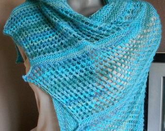 Hand knitted shawl or heater shoulder / Knit Shawl pattern asymmetric
