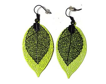 Leaf filigree dangle earrings neon yellow and black/gift