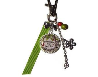 "Keychain / bag gift neighbor ""Neighbour who rocks"" green /personnalisable"