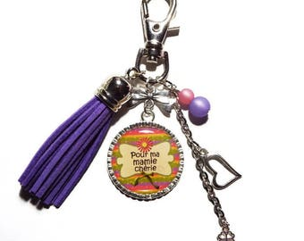 "Keychain / bag gift Grandma purple and pink ""for my dear Grandma"" charm / mother of grandmothers/mother of the grannies/Keychain purple tassel"