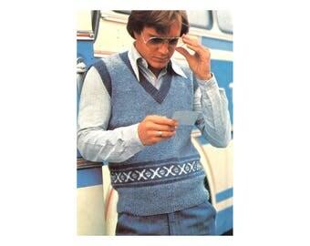 Mens V-neck Vest Knitting Pattern - Argyle Patterned Band