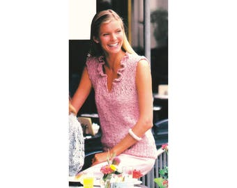 Sleeveless Sweater Knitting Pattern - Peony-Pink Slip-on
