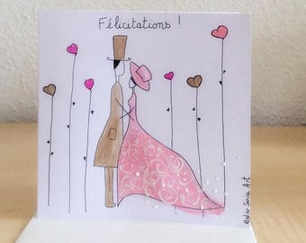Card - congratulations card - wedding hand painted wedding card