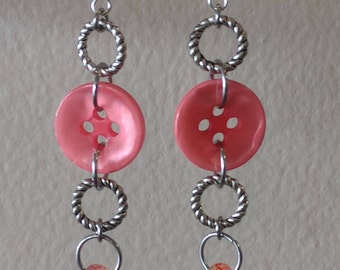 Coral/Pink Dangle Earrings Made from Buttons and Beads