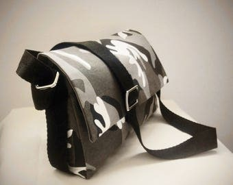 Crossbody bag, Crossover, Shoulderbag, Messenger bag , printed coton fabric  in camouflage grey white and black
