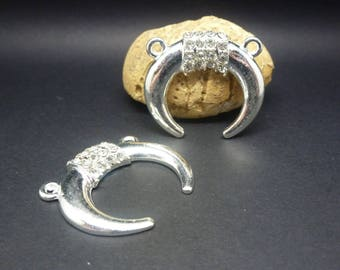 2 pendants connectors Horn silver Moon and rhinestone 30 * 27mm (USCA08)