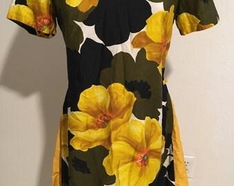 Volup Size L 1960s Cotton Polynesian Dress Tiki Hawaiian VLV