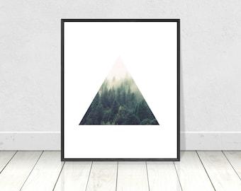 Forest Print, Triangle,PRINTABLE Art,Scandinavian,Trees,Tree Art,Triangle,Minimalist,Geometric Print,Scandinavian Poster,Home Decor,Wall Art