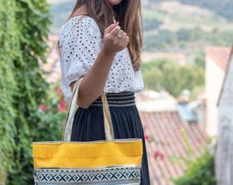 "Tote bag yellow patterned ""Julia"""