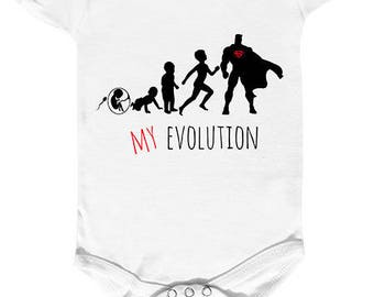 "Bodysuit baby humor "" my evolution "" in  superhero."
