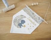 Customize - khaki fabric Liberty Adelajda printed fabric banner star - name - pattern - child's room - baby - boy