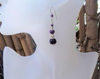 925 Silver and Amethyst earrings decorated with stone/silver plated findings and balls of wisdom