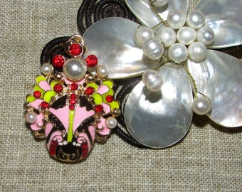 Pendant head mask-tone enamel and gold 50mm approx