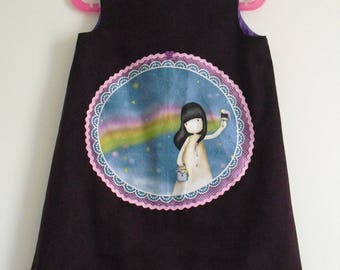 "Pretty winter dress ""Girl painter"" T 3 or 4 years"