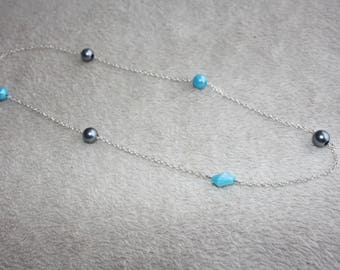 Turquoise & grey beads necklace