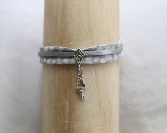 Gray fabric bracelet
