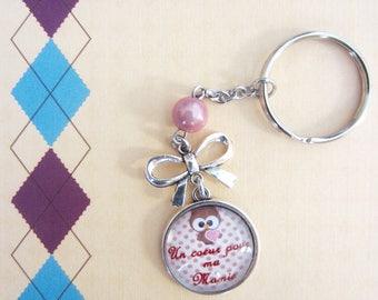 "Mother of Granny/Grandma - gift for Grandma: ""A heart for my grandma"" keychain"