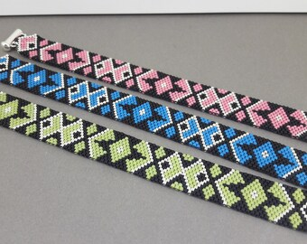 handmade bracelet, miyuki peyote stitch, sliding clasp 925 Silver beads