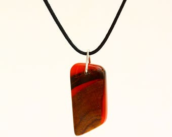 Red cherry wood and resin pendant necklace  geometric