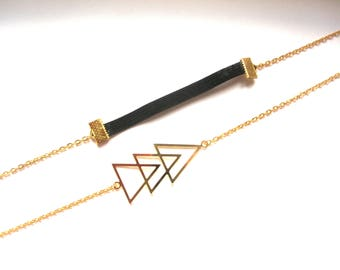 Graphic gold triangles and gold chain headband headband