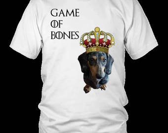 Game of Bones Dachshund Print T-Shirt