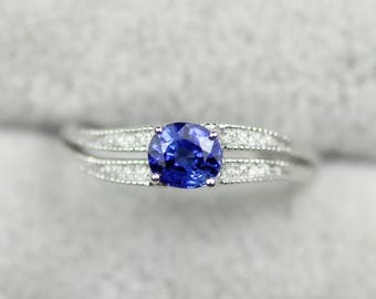 Sapphire oval engagement ring