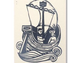 """Boat"" original greeting card / Hand-printed ""Boat"" greeting card"