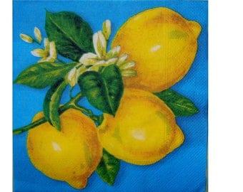 Set of 3 napkins FRU004 lemons blue background