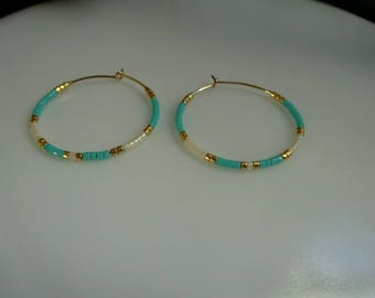 Gold plated hoop earrings 14 k and miyuki beads