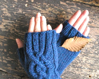 Women's Cable Knit Fingerless Gloves / Handmade Arm Warmers / Peruvian Wool Mittens / Solstice Blue / Knit Accessory Gift / Ready to Ship
