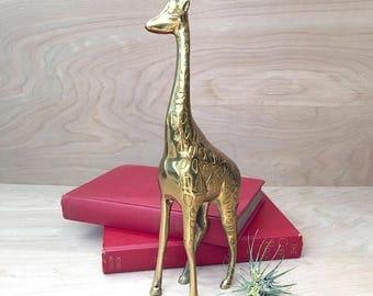 Vintage Solid Brass Large Giraffe Figurine • Statue Brass Animal • Brass Animal • Giraffe Statue • Nursery Decor • Mid Century Brass
