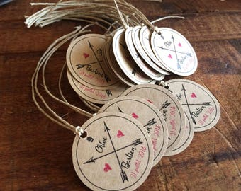 Tags set of 15 favors / wedding Retro Vintage