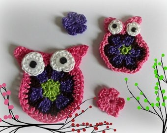 2 applied OWL crochet with 2 small flowers