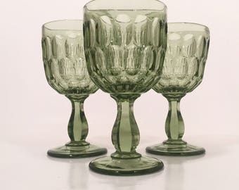Green Goblets, Fenton Colonial Green Thumbprint Wine Goblets Set of 3, Vintage Wine Glasses, Colored Goblets