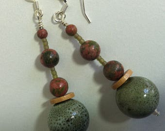 Green & salmon abstract dangle earrings