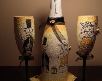 Yellow decoupage champange and coctail glass set for wedding or bachelorette party