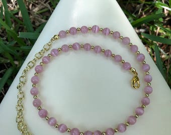 Pink Glass Choker With Shark Tooth Pendent