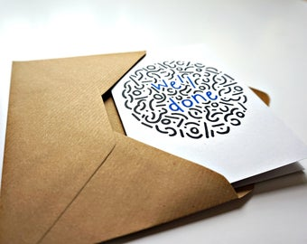 Contemporary 'well done' doodle greeting card