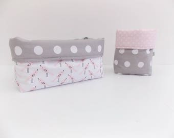 2 baskets BIRDY PINK fabric