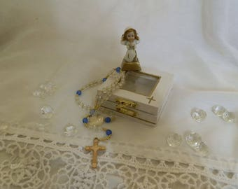 Small wooden box and her little Rosary