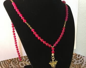 Burgundy Glass Beaded Y-Necklace with Bee Charm