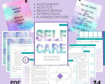 Self Care Workbook | Self Love Journal | Self Care Planner | Self Care Tracker Pages | Journal Pages | Affirmation Cards |
