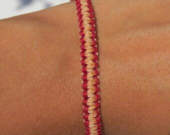 Bracelet macrame 2 reversible colors: red and light orange