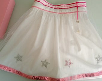 Fashion girl: Skirt in white cotton and tulle with stars and sequins