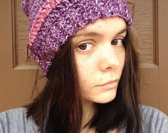 Heather Beanie: Purple Beanie with Pink Stripe
