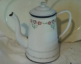 Vintage white enamel coffee pot / large / floral decor