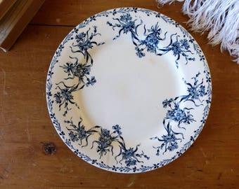 Assiette signée Salins, modèle Bleuets, fleurs et rubans, vaisselle Vintage fin XIXème début XXème