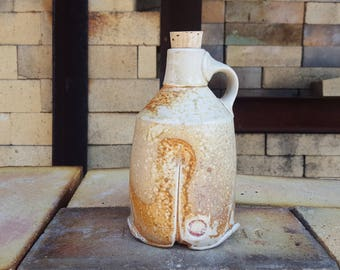Soda fired Bottle, Ceramic Bottle, Growler, Porcelain bottle