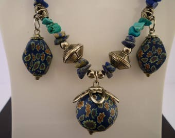 Blue necklace with polymer clay Medallion